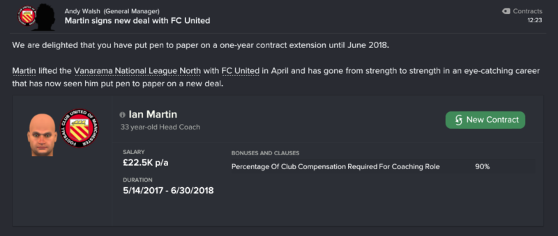 FC United of Manchester coach contract