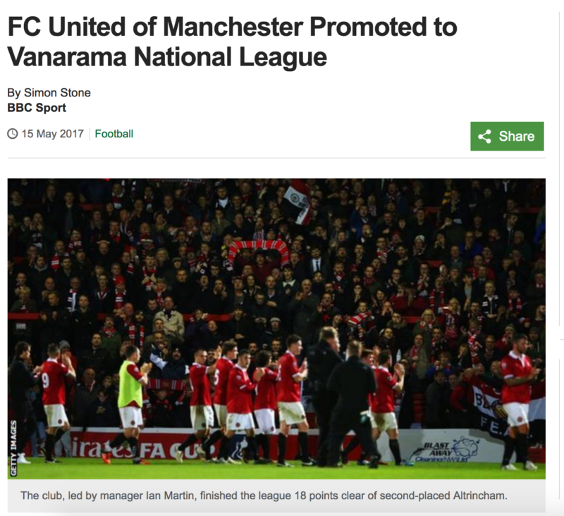 FC United of Manchester champions