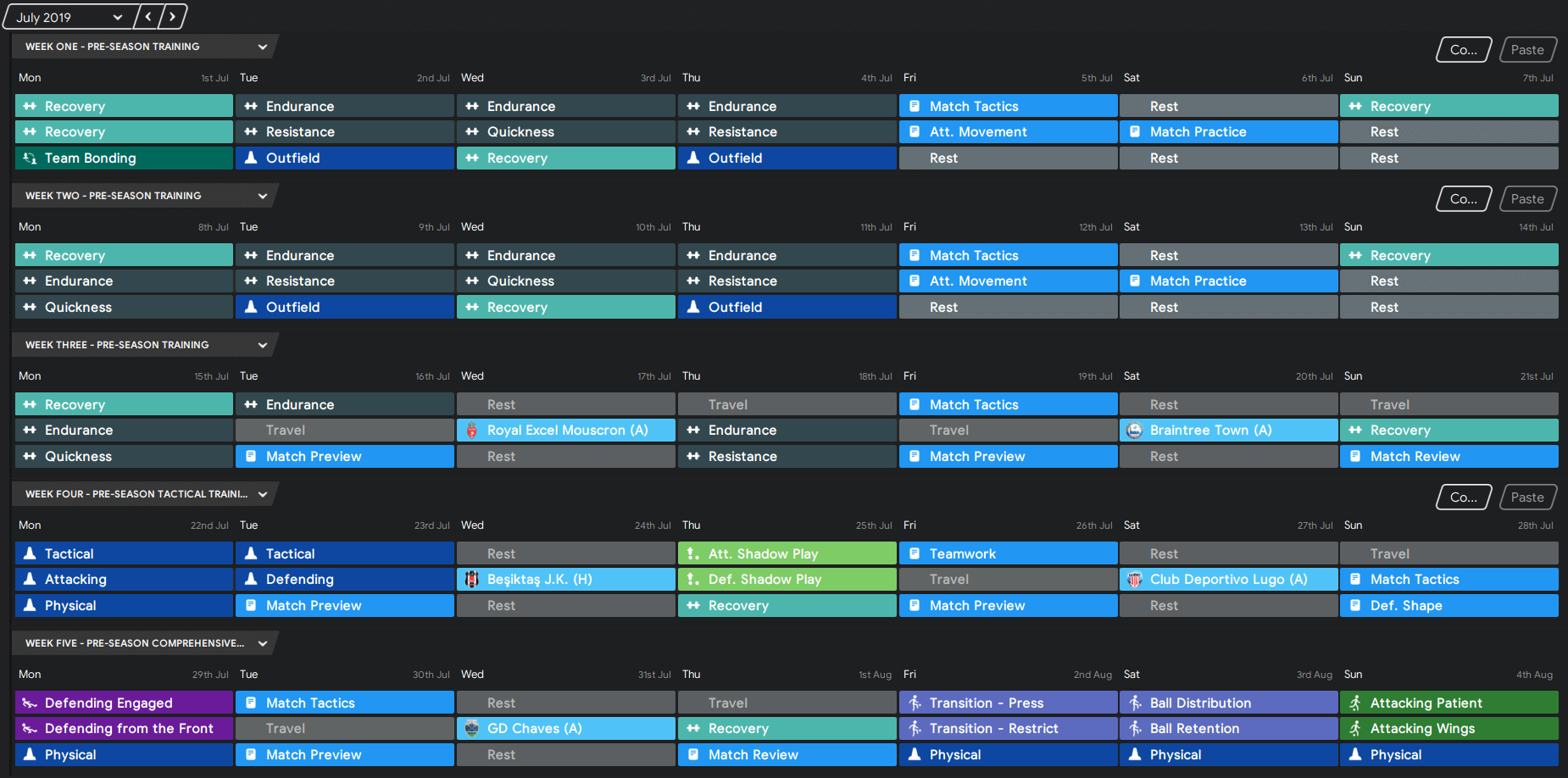 FM 2020 Training Schedules pre-season