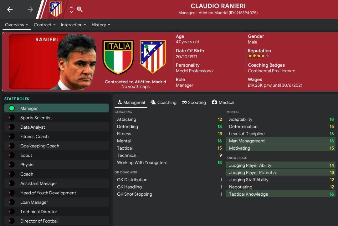 FM 2020 retro database Ranieri