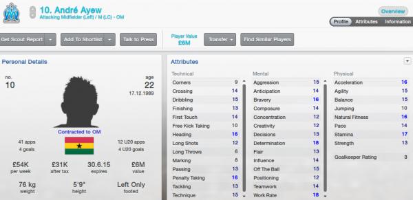 fm13 player profile, ayew2, 2012 profile