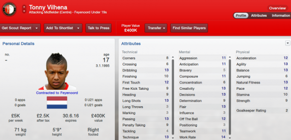 fm13 player profile, vilhena2, 2012 profile