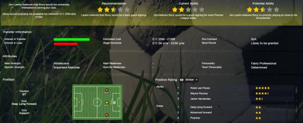 fm13 player profile, bony, scout report