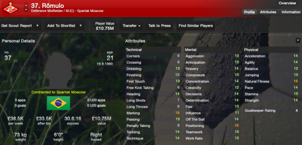 fm13 player profile, romulo2, 2012 profile