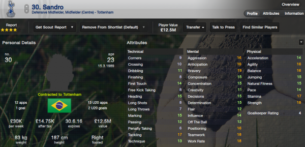 fm13 player profile, sandro, 2012 profile