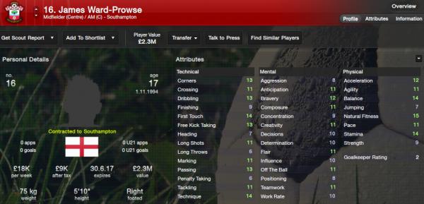 fm13 player profile, ward-prowse2, 2012 profile
