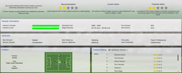fm13 player profile, foster-caskey, scout report