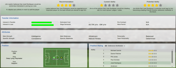 fm13 player profile, rodriguez, scout report