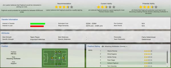 fm13 player profile, feghouli, scout report