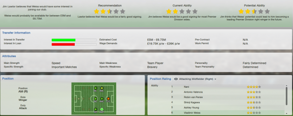 fm13 profile, weiss, scout report
