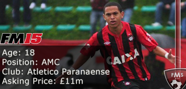 FM 2015 player profile of Marcos Guilherme
