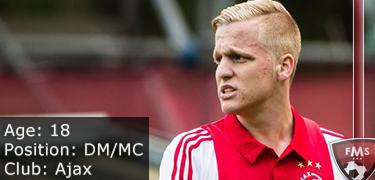 FM 2016 player profile of donny van de beek