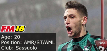 FM 2016 player profile of Domenico Berardi