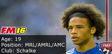 FM 2016 player profile of Leroy Sane