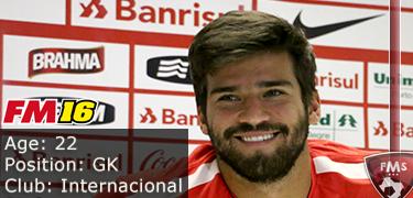 FM 2016 player profile of Alisson