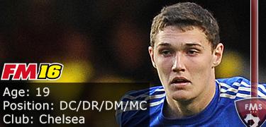 FM 2016 player profile of Andreas Christensen