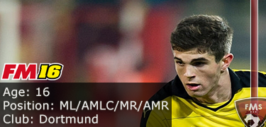 FM 2016 Player Profile of Christian Pulisic
