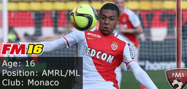 FM16 player profile, Kylian Mbappe, image