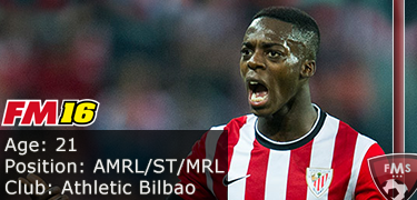 FM 2016 player profile of Inaki Williams