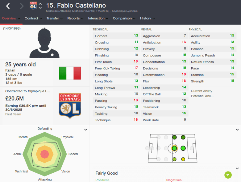 FM16 player profile, Fabio Castellano, 2023 profile